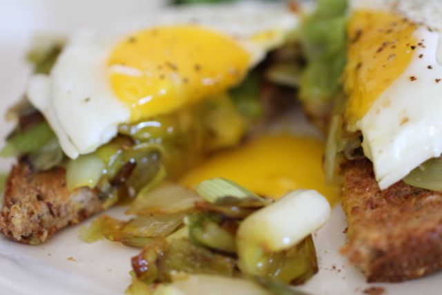 Fried Egg Over Leeks