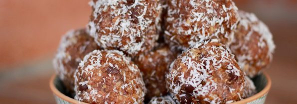 Almond Butter Energy Balls with Dates Oats and Dark Chocolate Chips